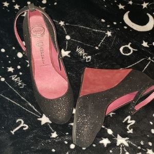 Jeffrey Campbell black glitter and red wedges 6.5